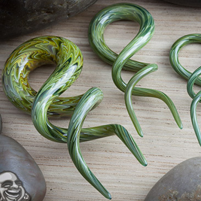Pyrex Glass Double Helices (Exotic Green)