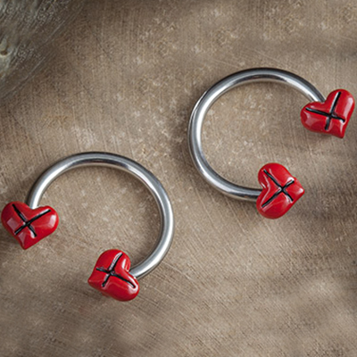 Circular Barbell with Stitched Hearts