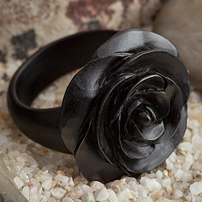 Arang Wood Rosebud Ring
