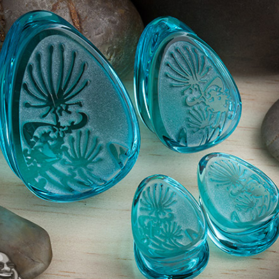 Glass Dandelion Teardrop Plugs (Turquoise)
