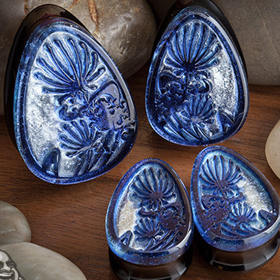 Fused Dichroic Dandelion Teardrop Plugs (Cobalt/Diamond)