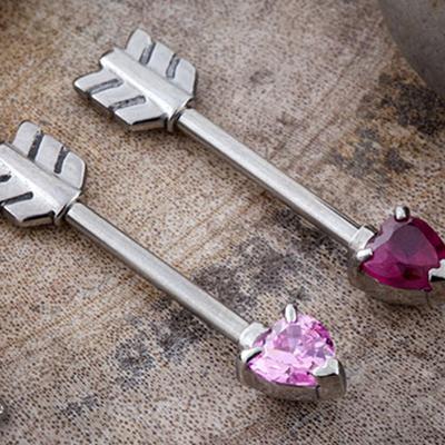 Heart gem arrow barbell