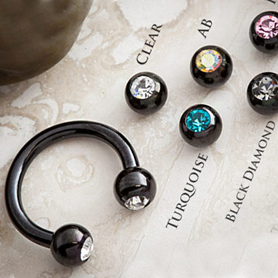 Black Steel Circular Barbell with Gem Balls