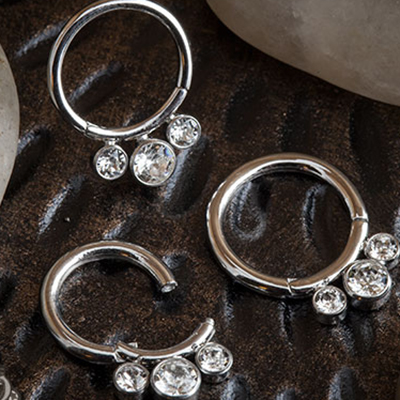 Steel Three Gem Septum Clicker