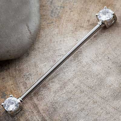 Industrial Barbell with Round Cz Ends