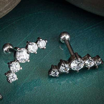 Five Gem Prong Set Cluster Barbell