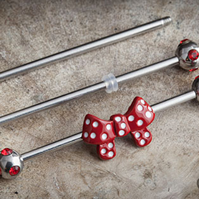 Red Polka Dot Bow Industrial Barbell Set