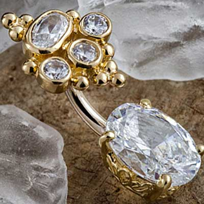 14k Yellow Gold Cz Crown and Oval Navel