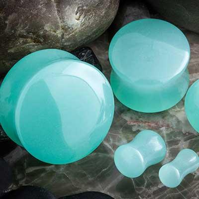 Mint opalite double flare plugs