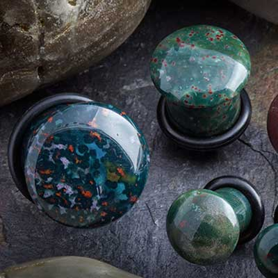 Single flare bloodstone stone plugs