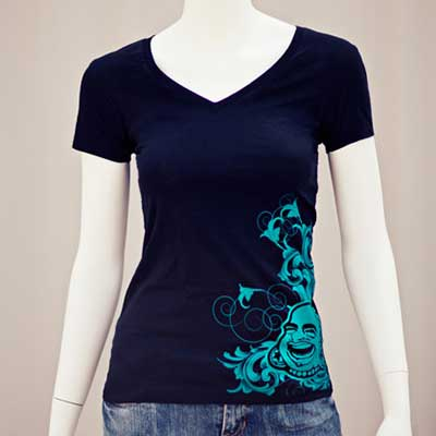 Ornate Baf V-Neck Girl Tee (Teal On Black Shirt)