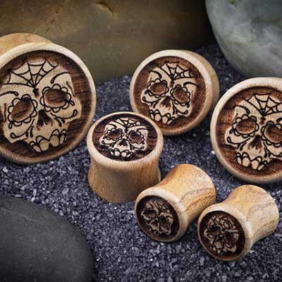 Apricot Wood Day of the Dead Plugs