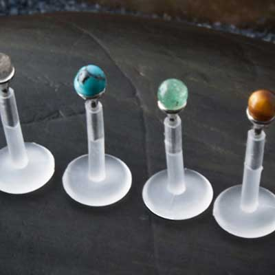 Flexible Plastic Labret with Gemstone