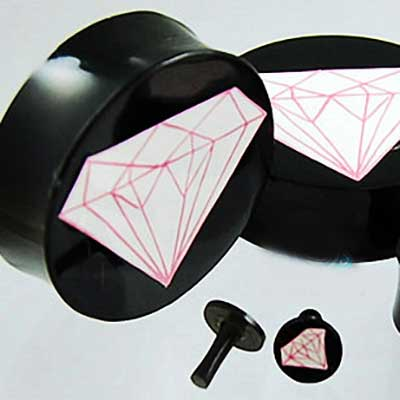 Black horn pink diamond plugs