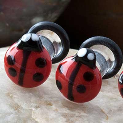 Pyrex Glass Ladybug Plugs
