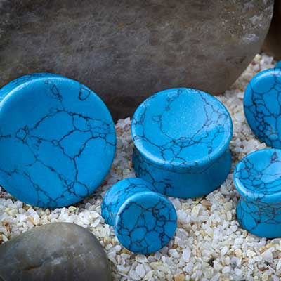 Synthetic Turquoise Concave Plugs