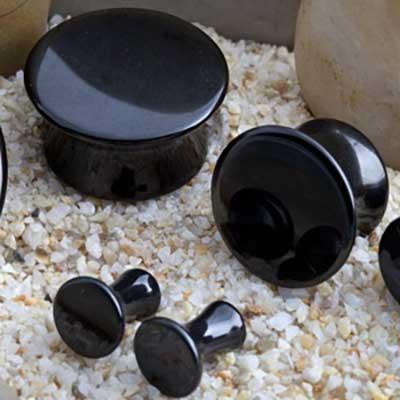Mayan Flare Stone Plugs (Obsidian)