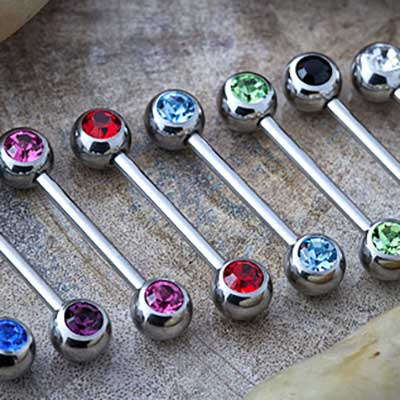Steel Barbell with Two Side-Set Gem Balls
