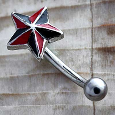 Nautical Star Curved Barbell