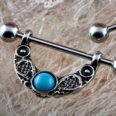 Nipple stirrup with antique turquoise design