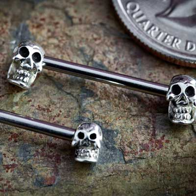 Internally Threaded Steel Double Skull Barbell
