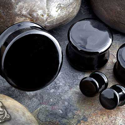 Double flare solid color pyrex plugs (black)