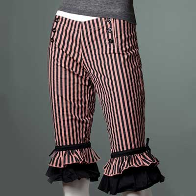 Long black/dusty rose striped bloomers