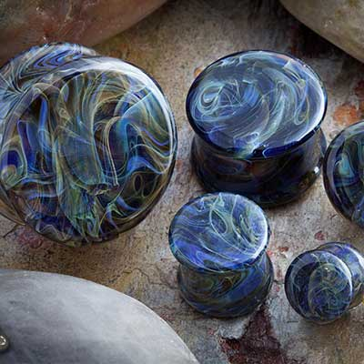 Double flare Borostone plugs (purple smoke)