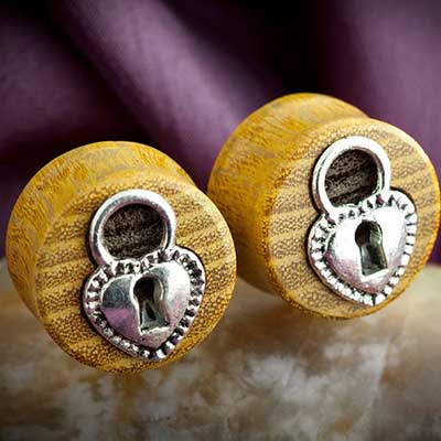 Osage Orange Wood Plugs with Silver Heart Locket Inlays