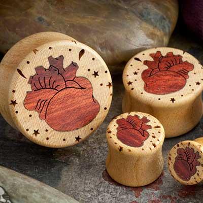 Apricot Wood Anatomical Heart Plugs