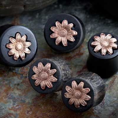 Ebony Wood Plugs with Copper Flower Inlays