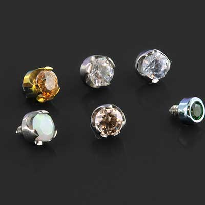 Titanium Faceted Prong Set Threaded End