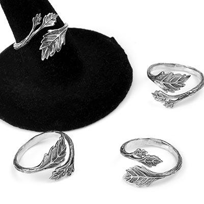 Sterling Silver Adjustable Leaf Ring