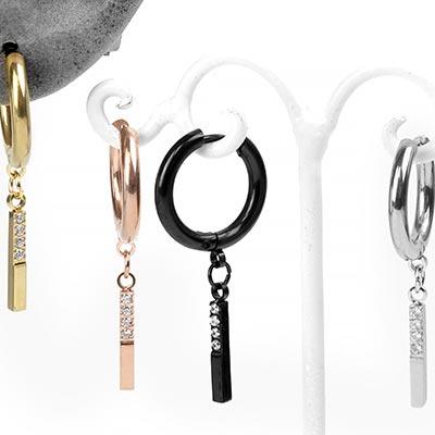 Steel Linear Dangle Huggie Earring