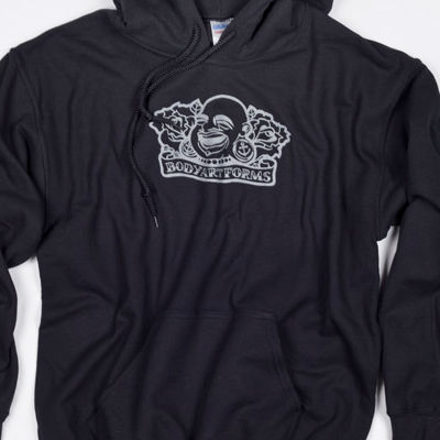 Baf Roses Pullover Hoodie (Grey On Black)