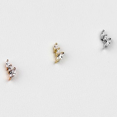Solid 14K Gold Multiplicity Threadless End with CZ