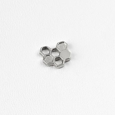 14K White Gold Honeycomb Threadless End