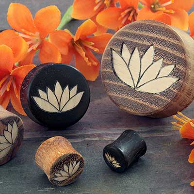 Wood Plugs with Lotus Flower Inlays