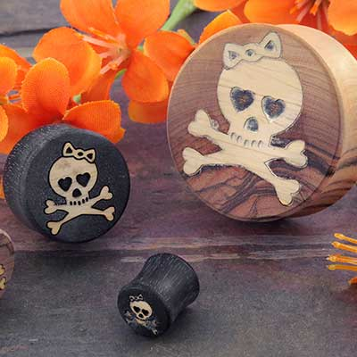 Wood Plugs with Skull and Crossbones Inlays