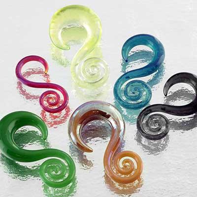 Pyrex glass mini spiral hoops