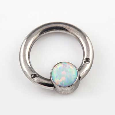 PRE-ORDER Steel Septum Ring with Gemmed Bezel (No Threaded Ends)