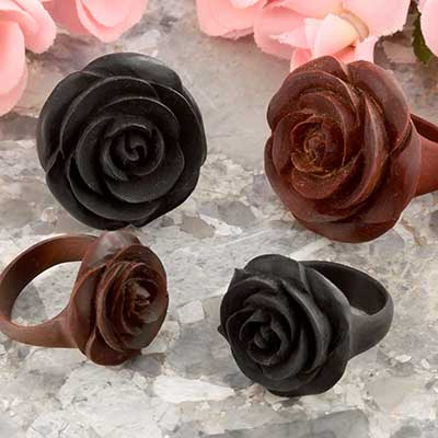 Wood Rosebud Ring