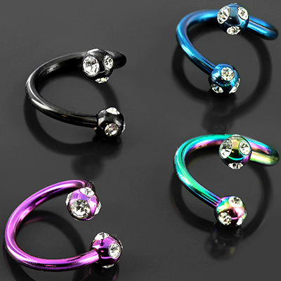 Color-Coated Twist Barbell with Five-Gem Balls
