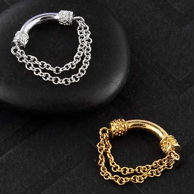 14k Gold Double Chain Septum Spinner