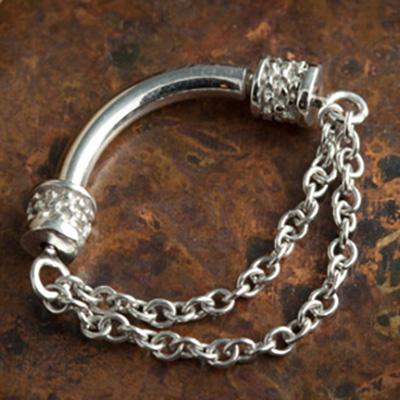 14K gold double chain septum spinner