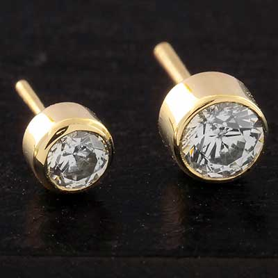 14k Gold Threadless CZ End