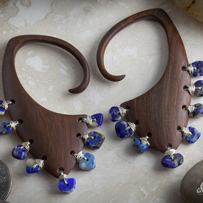 Lignum Vitae Hive Design with Silver and Lapis