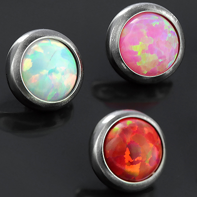 Titanium Bezel Set Opal Threaded End
