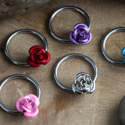Steel Captive with Rose Bead
