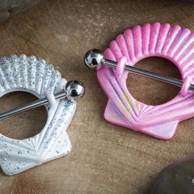 Glitter seashell nipple shield